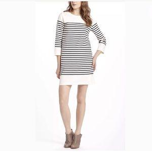 Anthro Allihop Belmont Button Black Striped Dress